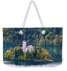 Lake Bled Island - Pilgrimage Church Weekender Tote Bag by Phil Banks