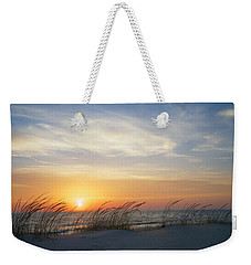 Lake Michigan Sunset With Dune Grass Weekender Tote Bag by Mary Lee Dereske