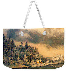Weekender Tote Bag featuring the painting Lake Tahoe Winter Colors 2 by Donna Tucker