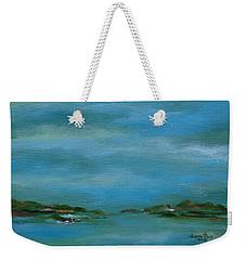 Weekender Tote Bag featuring the painting Lake Wallenpaupack Early Morning by Judith Rhue