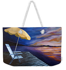 Weekender Tote Bag featuring the painting Lakeside Sunset by Michelle Joseph-Long