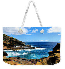 Weekender Tote Bag featuring the photograph Lanai Scenic Lookout by Kristine Merc