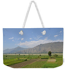 Weekender Tote Bag featuring the photograph Landscape Of Mountains Sky And Fields Swat Valley Pakistan by Imran Ahmed