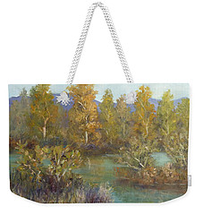Landscape River And Trees Paintings Weekender Tote Bag
