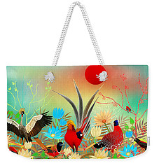 Landscapes With Birds And Red Sun - Limited Edition Of 15 Weekender Tote Bag