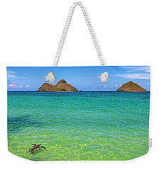 Lanikai Beach Sea Turtle Weekender Tote Bag by Aloha Art