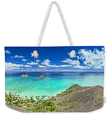 Lanikai Bellows And Waimanalo Beaches Panorama Weekender Tote Bag by Aloha Art