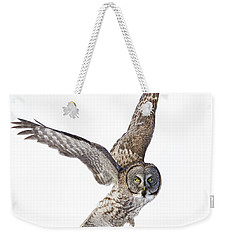 Lapland Owl On White Weekender Tote Bag by Mircea Costina Photography