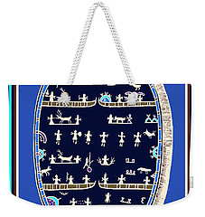 Weekender Tote Bag featuring the digital art Lappish Shaman's Ritual Drum by Vagabond Folk Art - Virginia Vivier