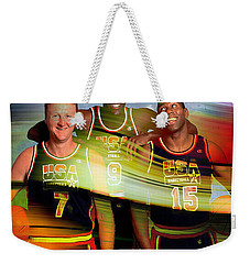 Larry Bird Michael Jordon And Magic Johnson Weekender Tote Bag by Marvin Blaine