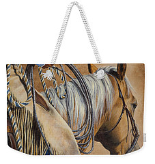 Weekender Tote Bag featuring the painting Lariat And Leather by Kim Lockman
