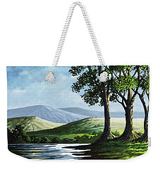 Weekender Tote Bag featuring the painting Late Afternoon by Anthony Mwangi