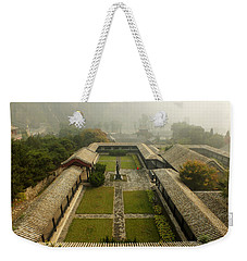 Weekender Tote Bag featuring the photograph Late Morning Fog At The Great Wall  by Lucinda Walter