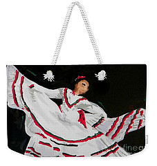 Weekender Tote Bag featuring the painting Latin Dancer by Marisela Mungia