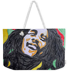 Weekender Tote Bag featuring the painting Happy Bob Marley  by Stormm Bradshaw