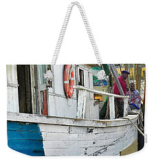 Weekender Tote Bag featuring the photograph Laughs On A Shrimpboat by Patricia Greer