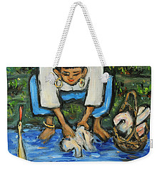 Weekender Tote Bag featuring the painting Laundry Girl by Xueling Zou