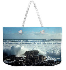 Weekender Tote Bag featuring the photograph Lava Beach Rocks On 90 Mile Beach by Mark Dodd