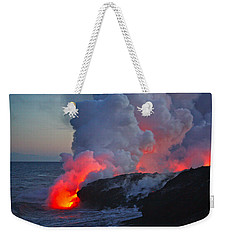 Lava Flow At Sunset In Kalapana Weekender Tote Bag by Venetia Featherstone-Witty