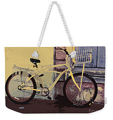 Weekender Tote Bag featuring the photograph Lavender Door And Yellow Bike by Ecinja Art Works