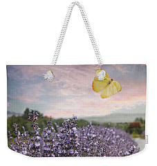 Lavender Field Pink And Blue Sunset And Yellow Butterfly Weekender Tote Bag by Brooke T Ryan