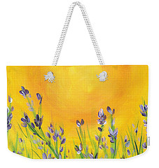 Weekender Tote Bag featuring the painting Lavender In The Air by Val Miller