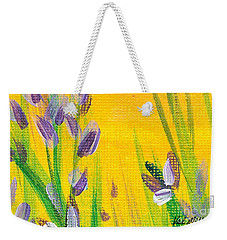 Weekender Tote Bag featuring the painting Lavender - Hanging Position 1 by Val Miller