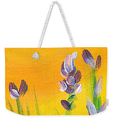 Weekender Tote Bag featuring the painting Lavender - Hanging Position 3 by Val Miller