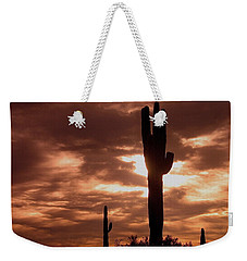 Weekender Tote Bag featuring the photograph Lawless Frontier Homage 1935 Saguaro Forest by David Lee Guss