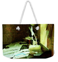 Weekender Tote Bag featuring the photograph Lawyer - Desk With Quills And Papers by Susan Savad