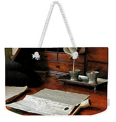 Weekender Tote Bag featuring the photograph Lawyer - Quill Papers And Pipe by Susan Savad