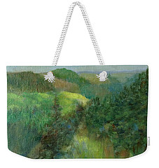 Layers Of Mountain Ranges Colorful Original Landscape Oil Painting Weekender Tote Bag