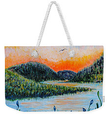 Weekender Tote Bag featuring the painting Lazy River by Holly Carmichael