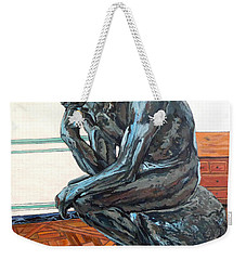 Weekender Tote Bag featuring the painting Le Penseur The Thinker by Tom Roderick