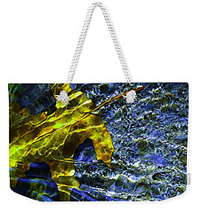 Leaf In Creek - Blue Abstract Weekender Tote Bag