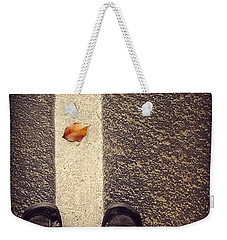 Weekender Tote Bag featuring the photograph Leaf On The Line by Meghan at FireBonnet Art