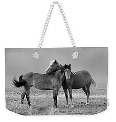 Lean On Me B And W Wild Mustang Weekender Tote Bag