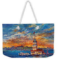 Weekender Tote Bag featuring the painting Leanders Tower  Istanbul by Lou Ann Bagnall
