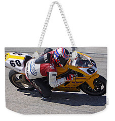 Weekender Tote Bag featuring the pyrography Leaning Into Speed by Shoal Hollingsworth