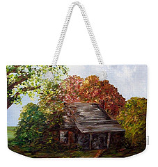 Weekender Tote Bag featuring the painting Leaves On The Cabin Roof by Eloise Schneider