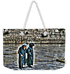 Weekender Tote Bag featuring the photograph Leaving The Western Wall In Israel by Doc Braham