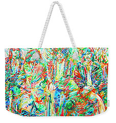 Led Zeppelin - Watercolor Portrait.1 Weekender Tote Bag by Fabrizio Cassetta