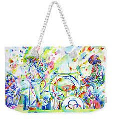 Led Zeppelin Live Concert - Watercolor Painting Weekender Tote Bag by Fabrizio Cassetta