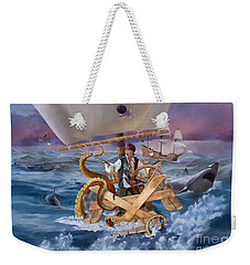 Weekender Tote Bag featuring the painting Legendary Pirate by Rob Corsetti
