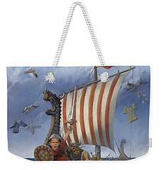 Weekender Tote Bag featuring the painting Legendary Viking by Rob Corsetti