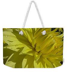 Weekender Tote Bag featuring the photograph Lemon Yellow Dahlia  by Susan Garren