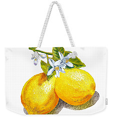 Weekender Tote Bag featuring the painting Lemons And Blossoms by Irina Sztukowski