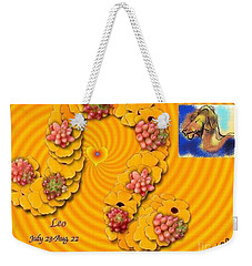 Weekender Tote Bag featuring the digital art Leo  by The Art of Alice Terrill
