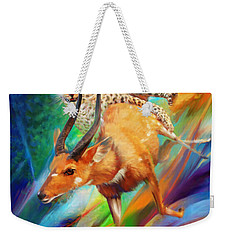 Weekender Tote Bag featuring the painting Leopard Attack by Rob Corsetti