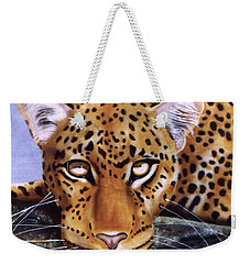 Weekender Tote Bag featuring the painting Leopard In A Tree by Thomas J Herring